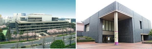 (左)国立国会図書館全景。(右)国立国会図書館新館