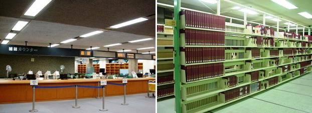 新館の雑誌カウンター(左)と書庫