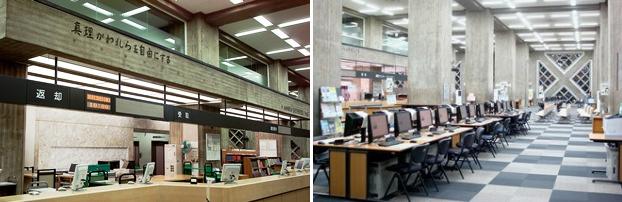 本館の図書カウンター(左)と検索ホール(右)