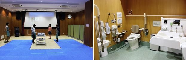 (左)各種イベントで使用されるシアターは地下1階にある。(右)バリア古―のトイレ「だれでもトイレ」は各階に設置