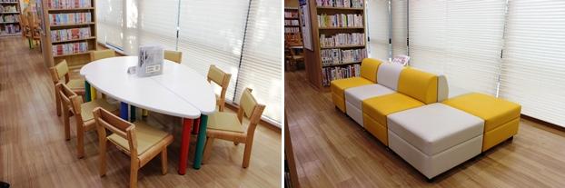 (左)子供用の閲覧席。(右)親子ふれあいコーナー
