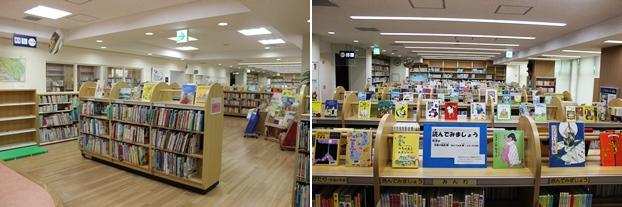 (左)絵本の書架。(右)児童書の書架