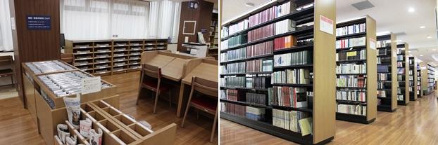 (左)新聞。(右)日記・記録関連の書架