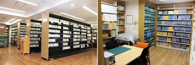 (左CD、DVDの書架。(右)障害者資料室