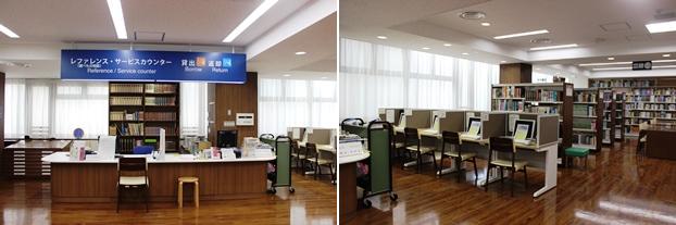 (左)レファレンス・サービスカウンター。(右)インターネット端末コーナー