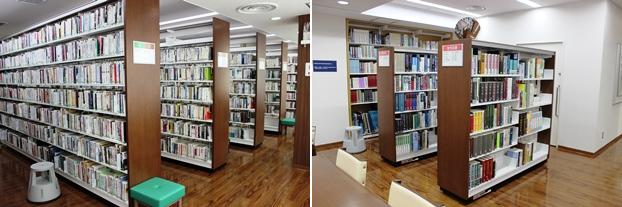 (左)社会科学関連の書架。(右)参考図書の書架