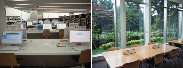 (左)蔵書検索・インターネット。蔵書検索、インターネット閲覧と30種類を超える各種オンラインデータベースが利用できる。(右)グループ閲覧室。グループで図書館の資料を使い、調べものをする部屋です。貸切利用することも可能。(申込み受付は1カ月前から前日まで)