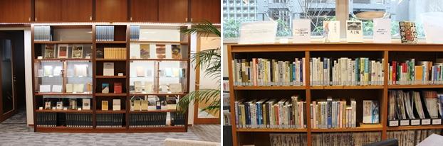 古書展示ギャラリー(左)と一度は読みたい観光研究書&実務書100冊(右)