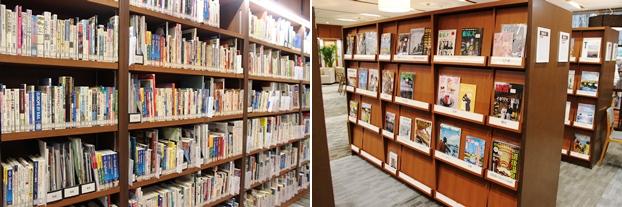 (左)ガイドブックコーナー。(右)旅行雑誌コーナー